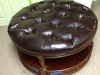 Italian Leather tutted round ottoman
